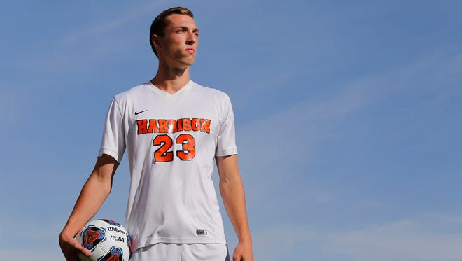 Jakub Hall of Harrison High School is the 2017 Journal & Courier Boys Soccer Player of the Year.