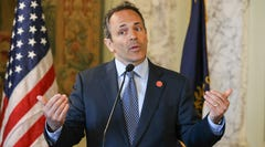 Kentucky Gov. Matt Bevin announced he would veto the entire budget and the tax reform bill during a morning news conference in Frankfort, Ky., on April 9, 2018. Lawmakers overrode Bevin's veto Friday, April 13, 2018.