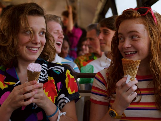Millie Bobby Brown, Sadie Sink in a scene from season