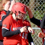 Riverheads' Rebecca Johnson is congratulated after her three-run home run in the first inning Wednesday.