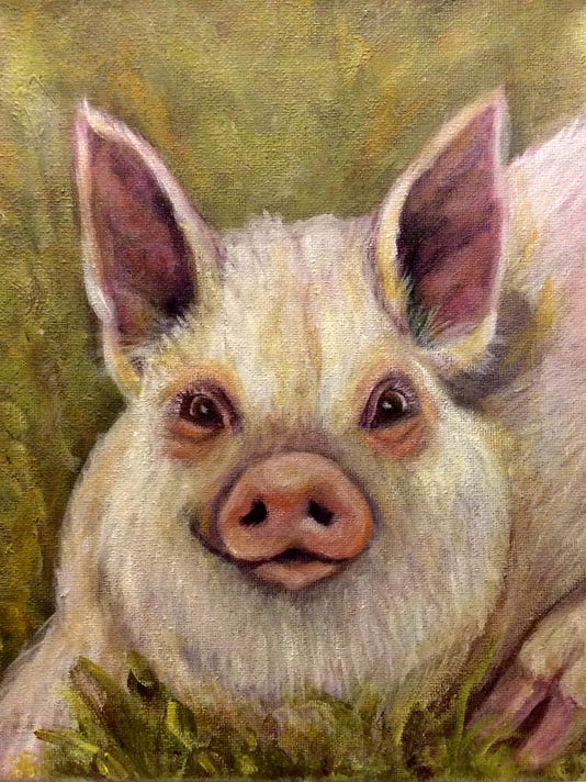 Artist of the month painting pig