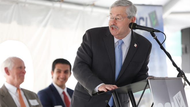 Gov. Terry Branstad makes some remarks Wednesday, April 19, 2017, during a ribbon cutting ceremony for the Iowa Fertilizer Company plant in Wever, Iowa.
