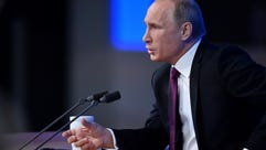 Russian President Vladimir Putin speaks during his