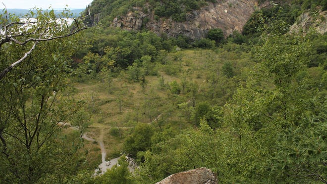 A view of an abandoned quarry from a Bull Hill ridge.