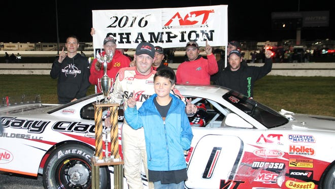 Barre's Nick Sweet celebrates his first American-Canadian Tour championship in victory lane at Thompson Speedway in Connecticut on Saturday night.