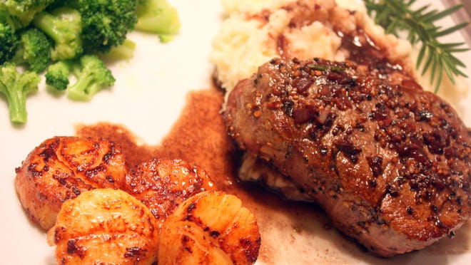 Gulf Coast Scallops and Filet Mignon make a perfect Surf and Turf meal.
