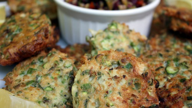 Artichoke and Asparagus Fritters with Olive Relish.