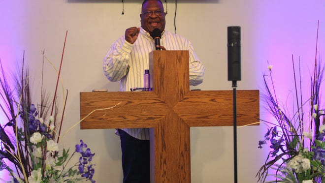 Bishop James H. Dixon Jr. preaches the sermon during the Sunday morning worship service at Greater Faith Fellowship Baptist Church.