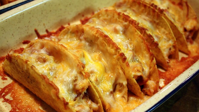 Hot and Spicy Baked Chicken Tacos.