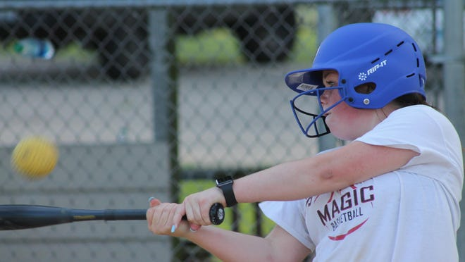 Ava LaFollette takes batting practice on Tuesday at Northeast Park in Kewanee. Playing a patchwork schedule, the Kewanee Ballhawks for 15-year-olds are off to a 10-0 start.