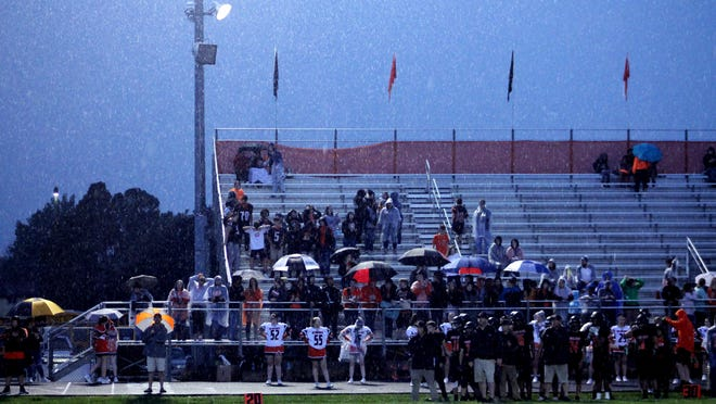 A downpour on Sept. 27, 2019, eventually suspended a football game until the next day between Kewanee and Erie-Prophetstown at Kewanee High School Stadium. Volatile spring weather could be in store for high school teams as they attempt a six- or seven-game schedule under a modified schedule prompted by the coronavirus pandemic.