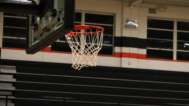 The basket and bleachers at Brockman Gymasium at Kewanee High School stand empty in a file photo.