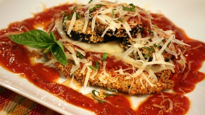 Panko Crusted Chicken and Eggplant with Spicy Marinara Sauce.