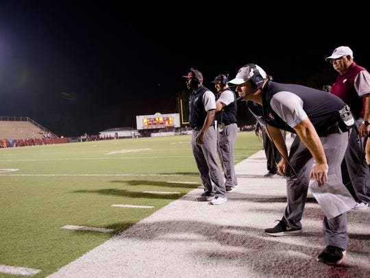 Prattville head coach Chad Anderson looks on during