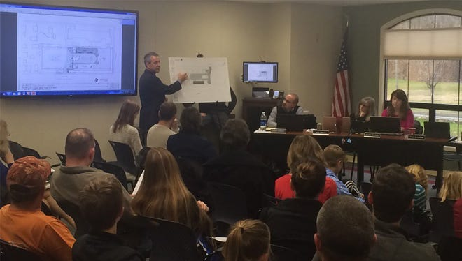 Shasta County Superintendent of Schools Tom Armelino goes over an updated plan to keep a play facility in part of Magnolia park at a meeting on Wednesday in Redding.
