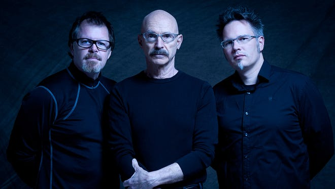 Tony Levin (center) and the Stick Men play the Saint in Asbury Park on Sunday.