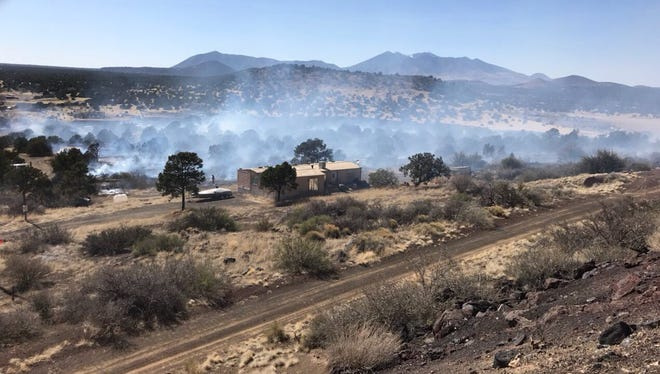 At least 75 homes in the Winona area east of Flagstaff was evacuated about 3 p.m., April 8, 2018, after the fast-moving Copley Fire swallowed more than 50 acres, officials said.