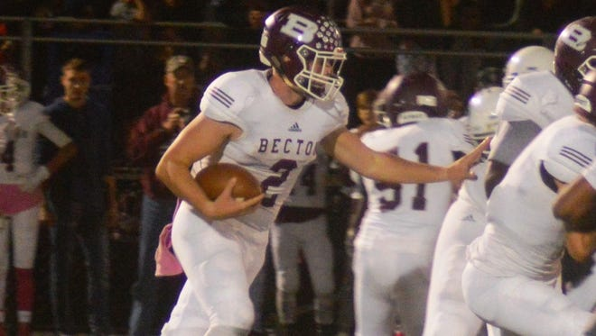 Becton senior quarterback Michael Bolwell completed 15 of 26 passes for 355 yards and two touchdowns against Belvidere.