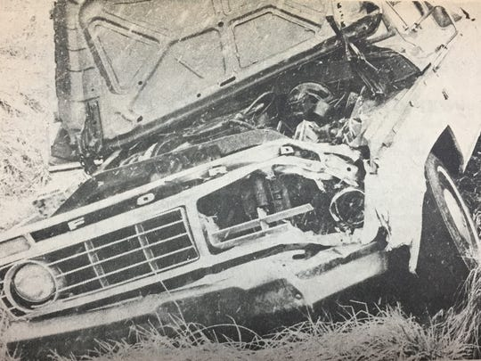 This 1974 Ford pick-up truck was struck by the wheel of a 1975 Chevrolet grain truck in January 1980. The Henderson County couple driving it were transported to Henderson Community Methodist Hospital.