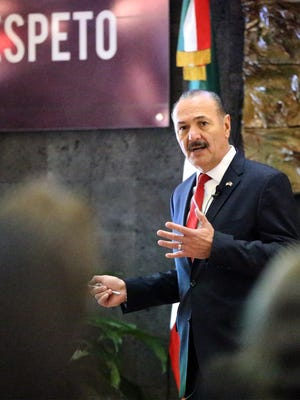 Marcos Bucio, consul general of Mexico in El Paso, speaks during his address on U.S.-Mexico relations recently at the Mexican Consulate in Downtown El Paso.