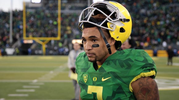 Nov 27, 2015; Eugene, OR, USA; Oregon Ducks quarterback Vernon Adams Jr. (3) celebrates a win over Oregon State Beavers at Autzen Stadium. Mandatory Credit: Scott Olmos-USA TODAY Sports
