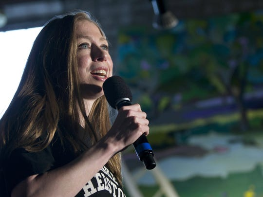 Chelsea Clinton speaks during the Women for Hillary event at the Richard App Gallery, in Grand Rapids, Mich., Thursday, Sept. 22, 2016.
