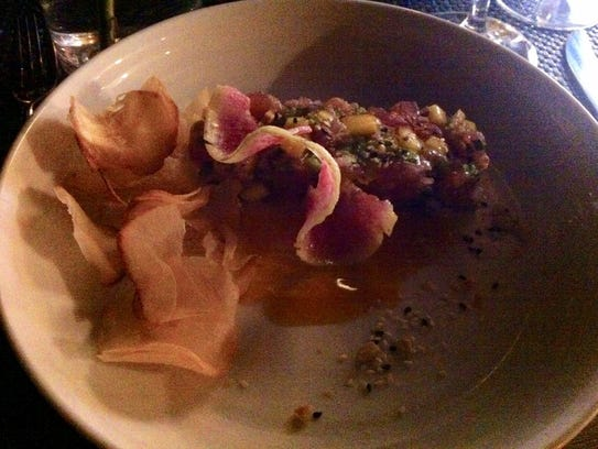 Tuna tartare with house-made chips at Baleen