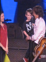 A mother and son, Michelle and Simon, got a special moment with Paul McCartney on the Premier Center stage May 2, 2016.
