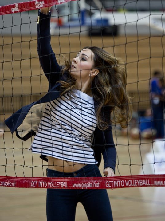 Duchess Kate leaps in volleyball