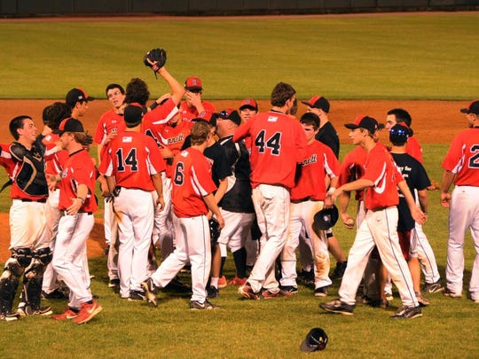In this 2011 photo, the James M. Bennett baseball team wins the first of back-to-back state championships. The Clippers would end up setting a new state record for consecutive wins with 56, which spanned three seasons.