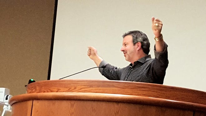 Kris Vallotton, Bethel Church leader, addresses the Redding City Council on the night when city officials accepted a $500,000 donation from the church.