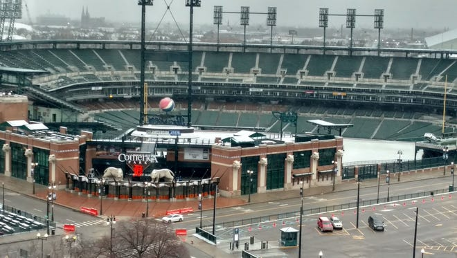 A look at Comerica Park with snow on the ground Tuesday, April 17, 2018.