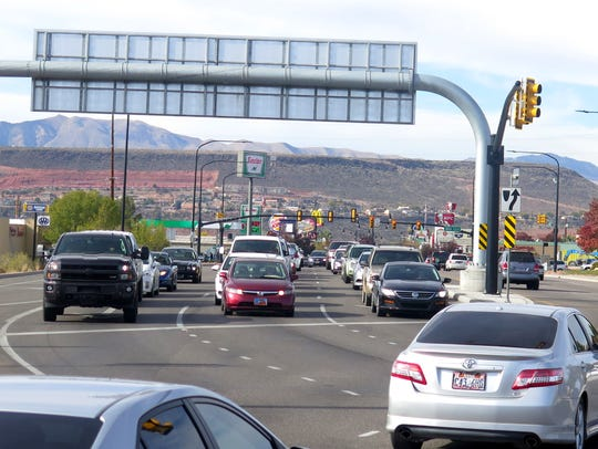 Motorists fill the lanes along the St. George Boulevard