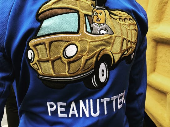 "Official ""peanutter"" swag worn by the crew of the NUTmobile."