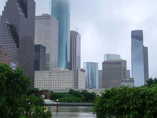 Flooding in downtown Houston.