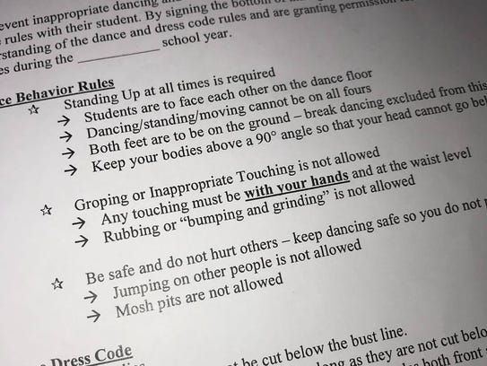 Visalia Unified School District student dance agreement.