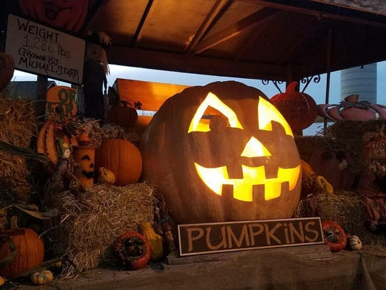 Pictured is the 2017 record winning pumpkin now carved