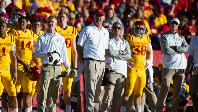 Iowa State Cyclones head coach Paul Rhoads watches the action against the Toledo at Jack Trice Stadium last season.
