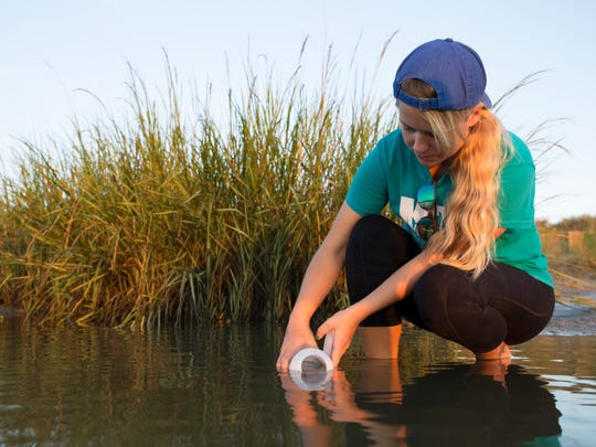 A Sea Grant Microplastics training to teach volunteers how to sample water for microplastics in New Smyrna Beach.