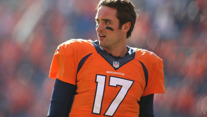 Jan 24, 2016; Denver, CO, USA; Denver Broncos quarterback Brock Osweiler (17) before the AFC Championship football game against the New England Patriots at Sports Authority Field at Mile High. Mandatory Credit: Chris Humphreys-USA TODAY Sports
