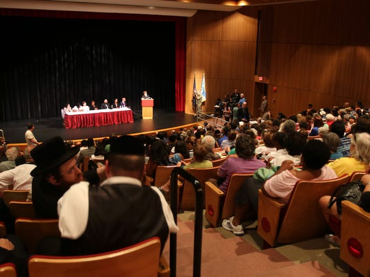 Commissioner MaryEllen Elia announced former NYC schools chancellor Dennis Walcott will lead a three-person monitor team in East Ramapo during a press conference at Rockland Community College Suffern Aug. 13, 2015.