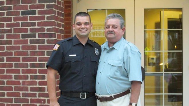 Edison Patrolman Joseph Wenskoski, who lost this battle with cancer last week, with his father, retired Patrolman Richard Wenskoski.