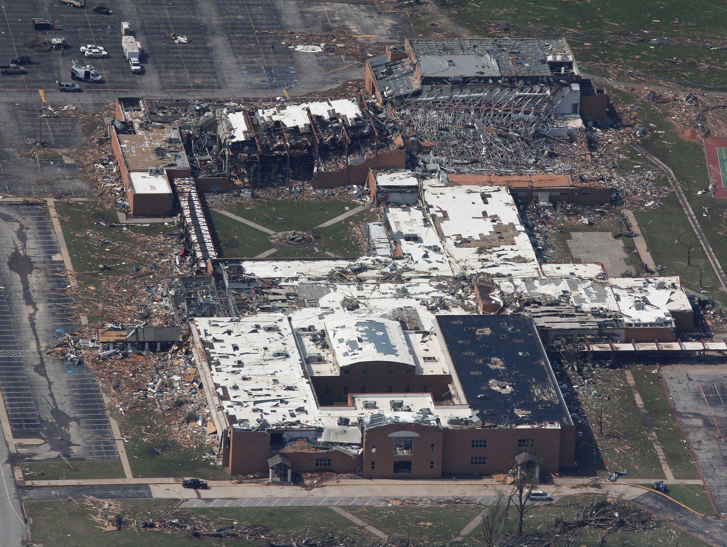 An aerial view of tornado damage at Joplin High School