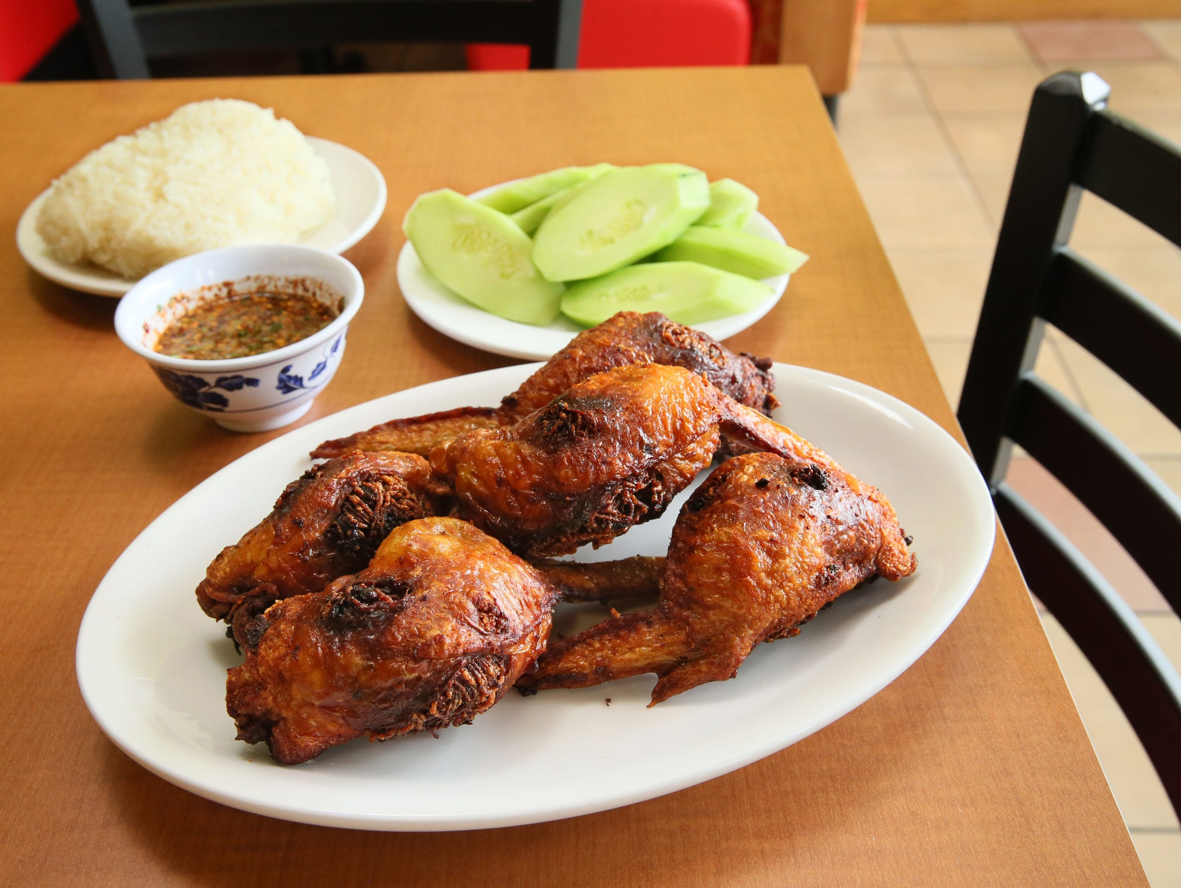 The crisp stuffed chicken wings at Kim's Thai, 938