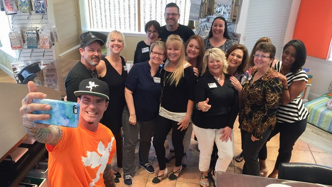 "Vanilla Ice grabs a selfie with the gang at Blinds of All Kinds in Rockledge. He stopped by the business to film a segment for his show, ""The Vanilla Ice Project"" on DIY Network."