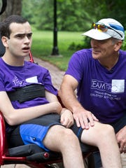 David Ferrell and his son Blake will compete in the NYC Triathlonon July 24. Blake has a rare genetic disease that severely limits his movement and ability to talk. He finds comfort and calmness while riding and swimming. Lincroft, NJ Saturday, July 9, 2016@dhoodhood