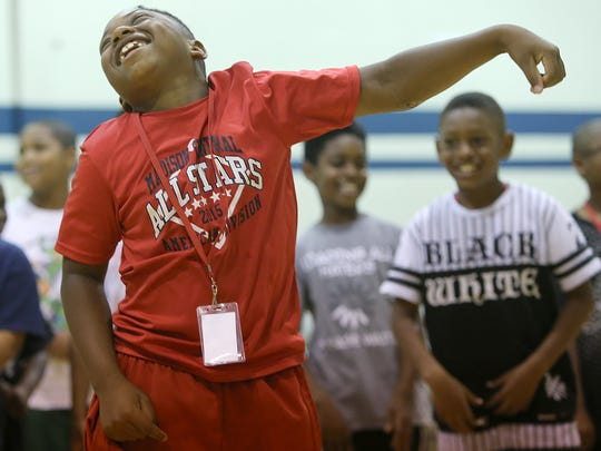 Corbin March dances Friday during Westwood Day Camp's kickoff bash.