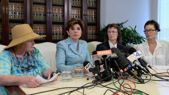 Gloria Allred with three new accusers of Bill Cosby, Colleen Hughes (L), Linda Ridgeway Whitedeer (2nd R) and actress Eden Tirl (R), on Aug. 12 in Los Angeles.