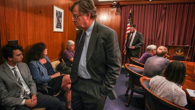 Metro Councilman Dan Johnson leaves a press conference where he announced that he has decided to leave the Metro Council Democratic Caucus immediately.  Johnson, who has stated that he will not seek re-election, will stay on the council through the end of his term.June 29, 2017