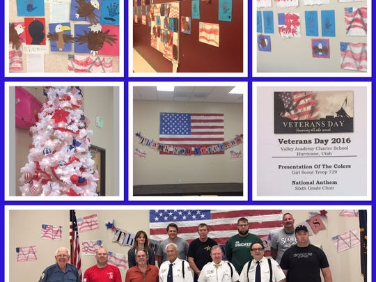 Valley Academy Charter's Veterans day assembly, student made decor, and special Veterans Day guests.